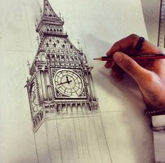 Big ben sketch Architecture Sketchbook, Art Sketchbook, Architecture Art, Simple Wave Tattoo, Building Painting, Drawing Projects, A Level Art, Urban Sketching, Big Ben