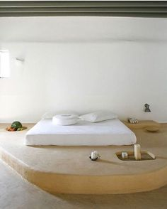 Wouldn't mind a built in side table for fruit next to my bed... Villa Honora, Mykonos #inspo