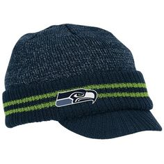 Seattle Seahawks Ladies Knit Visor Hat | Reebok Seattle Seahawks Navy Blue Second Season Player Visor Knit ...