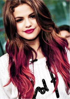 Selena Gomez with Red Highlights on the Tips