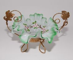Brides Basket, Victorian Era Green Cased Glass Ormolu , circa 1800