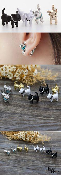 Through Your Ear Pearl Cat Earrings