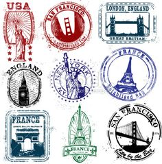 Series of vintage stylized stamps of the West Stylized Stamps of the West Royalty Free Stock Vector Art Illustration New York Tattoo, Illustration Tattoo, Travel Journal Scrapbook, Travel Stamp, Passport Stamps, Thinking Day, Travel Themes, Travel Ideas, Free Vector Art