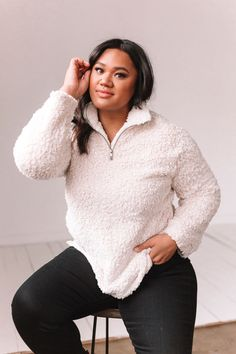 """The perfect sherpa doesn't exi- wait.. yes it does! It's our Cabin Love Sherpa, with its soft material and easy neutral colors, there's no reason not to wear it daily! 1/4"""" zipper closure Side pockets Shop the look: Pants Sizing Approximate measurements: SIZE LENGTH BUST 1XL 29"""" 50"""" 2XL 30"""" 52"""" 3XL 30"""" 54"""" Fits true to size Fabric has stretch Model is 5'9"""" and wearing 1XL Material 100% Polyester Hand wash cold separately Do not bleach Hang dry Trendy Outfits, Fall Outfits, Cute Outfits, Cozy Fashion, Comfortable Fashion, Autumn Clothes, Cool Style, Plus Size, Pullover"""