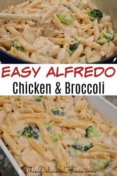 Easy Chicken Alfredo, you are going to love this baked chicken broccoli alfredo that's made with a lightened up Alfredo sauce. #alfredo #chickenalfredo Alfredo Recipe, Alfredo Sauce, Easy Party Food, Easy Food To Make, Easy Holiday Recipes, Healthy Dinner Recipes, Dinner Dishes, Food Dishes, Easy Crowd Meals
