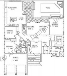 Tuscan Ranch House The Seville Floor Plan Add 2 Ft Length Of Family Room