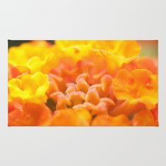 Yellow/Orange Flower Burst - Lantana #1 #art #society6 Rug