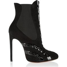Alaia Patent Leather-Paneled Suede Ankle Boots as seen on Paris Hilton