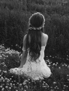 Hannah. Flowers, field, sitting, dress, black and white, pretty, girl senior photo shoot.