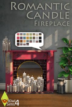 Romantic Candle Fireplace | by Industrisims via Sims4Studio/Mediafire | Sims 4 | TS4 | Maxis Match | MM | CC
