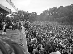 The Rolling Stones pop group, with lead singer Mick Jagger on front of stage, perform before a crowd of nearly 250,000 people in Hyde Park, London, July 5, 1969, during a free five-hour concert. (AP Photo/Staff/Kemp)