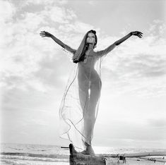 Veruschka stands on a boat along a Hawaiian beach wearing a nightdress by Bete Collection; Hair in high ponytail by Ara Gallant. (Photo by Franco Rubartelli) Vogue 1966 Event Photography, Video Photography, Digital Photography, Fashion Photography, Photography Accessories, Exposure Photography, Infrared Photography, Iphone Photography, Abstract Photography