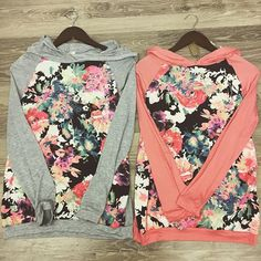 #floral contrast sleeve #hoodies now in stock. Small-large and just $25. #backtoschool #boutique #fall