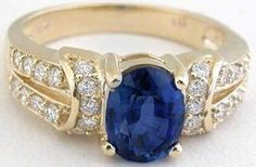 2.08 ctw Blue Sapphire and Diamond Ring in 14k yellow gold (SSR-5394)