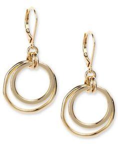 Anne Klein Earrings, Gold-Tone Orbital Fish Hook Earrings