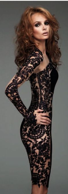the black lace gown is stunning, but the body makes it. BANG!