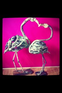 2 Driftwood Flamingos that were made for Valentine's Day 2013 by Bryan Cusack.