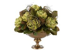 o realistic, ripe-looking artichokes are wreathed in lovely leaves and swirling grasses and tucked in a brassy urn.  Artichokes in Brass Urn on OneKingsLane.com