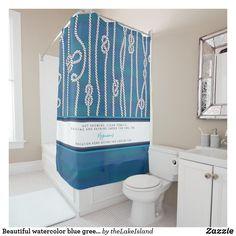 Beautiful watercolor blue green white knots custom shower curtain