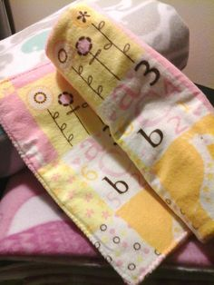 SINGLE A-Doodles for Kids ABC 123 Pink Animal Burp Cloth by LOYSELinens on Etsy