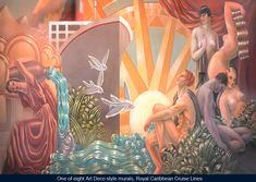 : One of eight Art Deco style wall murals, Royal Caribbean Cruise Lines.