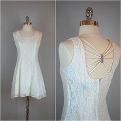 Sleeveless white LACE DRESS / Lace mini by TheDuskyJewelVintage, $55.00