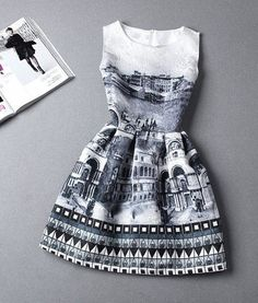 Grey Castle Print Pleated Sleeveless Knee Length Vintage Midi Dress