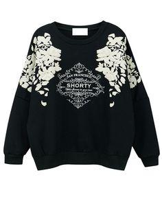 Vintage Print Pullover Sweatshirt