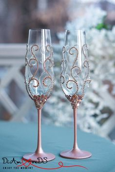 Rose Gold and Crystal Wedding Glasses Champagne Flutes Rose | Etsy