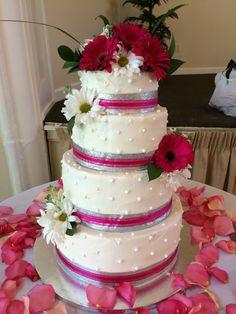 Silver & Fuschia Wedding Cake