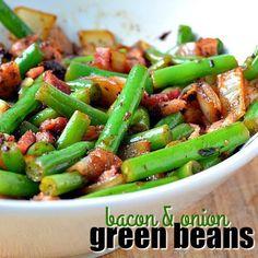 🌿 💚 🌿 BACON & ONION GREEN BEANS🌿 💚 🌿 BACON & ONION GREEN BEANS taste amazing because bacon. Bacon guys!! RECIPE HERE~~~>>>