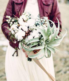 Winter cotton + air plant bouquet