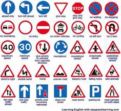 traffic rules symbols ~ rules symbol & classroom rules symbols & traffic rules symbols & no rules symbol & symbol for rules & school rules symbol Learning English Online, English Language Learning, English Grammar, Road Sign Meanings, English Lessons, Learn English, Driving Signs, Traffic Symbols, Driving Theory
