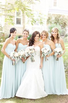 Light blue bridesmaids dresses. Re-pin if you like. Via Inweddingdress.com #bridesmaid