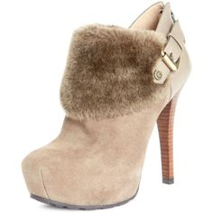 Guess Women's Shoes, Oleta Faux Fur Cuff Booties ($104) ❤ liked on Polyvore