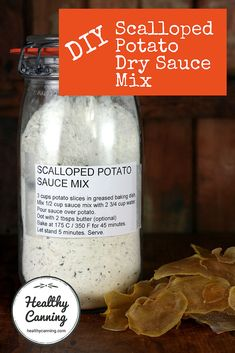 This is a DIY sauce mix for scalloped potatoes (aka Dauphinoise potatoes.) Use it with your dehydrated potato slices. Just add water, pour over the dried potato slices, and bake. To be clear, this is NOT a canning recipe. Don't attempt t Homemade Dry Mixes, Homemade Spices, Homemade Seasonings, Dehydrate Potatoes, Dried Potatoes, Canning Potatoes, Mason Jar Meals, Meals In A Jar, Dry Soup Mix