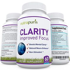 Nutrapuris CLARITY Best Brain Supplement - 60 Natural Ginkgo Biloba Capsules - Improve Mental Focus, Memory & Concentration - #1 Nootropic For Healthy Brain Function With More Energy - 100% Guarantee. Rating 4.6 out of 5 stars, 49 customer reviews