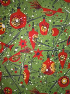 1950s // Atomic Design // Festive Christmas Tablecloth // Holidays // Cotton...51 X 66. $26.00, via Etsy.