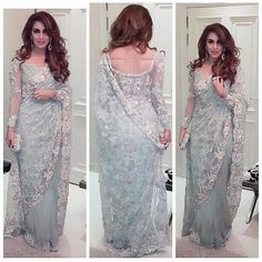 Chantilly Lace Saree For details / order please Call or Whatsapp on . Pakistani Dresses, Indian Dresses, Indian Outfits, Indian Sarees, Pakistani Couture, Indian Bollywood, Lace Saree, Saree Dress, Saree Blouse Patterns