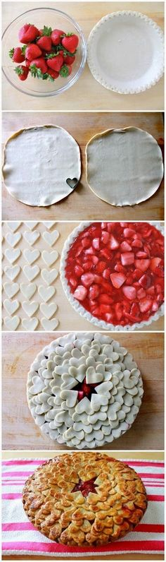 Strawberry Heart Pie. This will be dessert for my boys!
