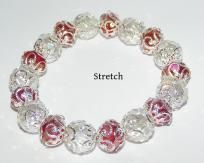 Swarvoski Crystal Stretch Bracelet Red & White Free Shipping