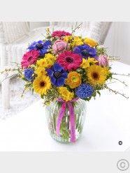 Happy Birthday Vibrant Spring Vase