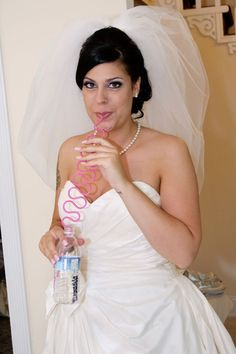 Fun idea! Curly straws for Bridal party while getting ready! Can't mess up the make up or spill on the dresses!