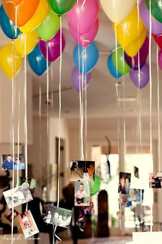 hanging pictures, guest books, school pictures, helium balloons, balloon idea
