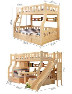 2017 New Design Wood Children Double Bunk Beds / Bed For Children Bunk Beds . - 2017 New Design Wood Children Double Bunk Beds / Bed For Children Bunk Beds With … - Bunk Bed With Slide, Double Bunk Beds, Bunk Bed Plans, Kids Bunk Beds, Kids Bedroom Furniture, Diy Furniture Projects, Wood Projects, Home Confort, Bunk Bed Designs