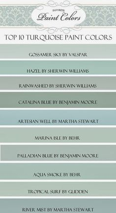 "Happy Friday everyone! Today I am sharing with you my favorite blue/green, or ""turquoise"" paint colors. I was looking through my paint decks trying to help a friend who was looking for the perfect tur"