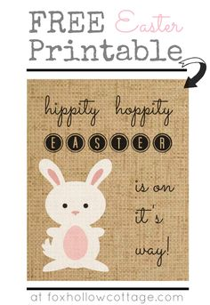 Burlap Bunny Easter Art Free Printable. #easter #art #printable @Shannon Bellanca Fox {Fox Hollow Cottage}