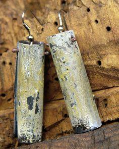 Greenish enameled steel tube earrings | Jomama Enamel Jewelry, Jewellery, Recycle Cans, Copper Wire, Boho Fashion, Tube, Steel, Glass, Earrings