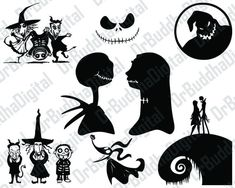 Nightmare Before Christmas SVG Collection - Nightmare DXF - Jack Skellington Clipart -Svg Files for Silhouette Cameo or Cricut by DrBuddhaDigital on Etsy Jack Skellington, Halloween Crafts, Halloween Decorations, Halloween Witches, Halloween Jack, Creepy Halloween, Halloween Signs, Disney Halloween, Halloween Stuff