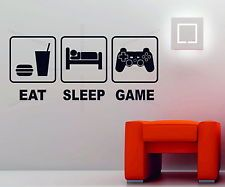 Eat Sleep Game Playstation Xbox Wii Decor Art Vinyl Wall Sticker PS4 Console